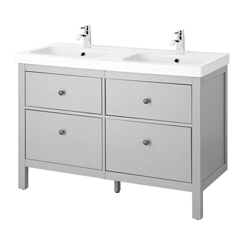 HEMNES / ODENSVIK Sink cabinet with 4 drawers, gray gray 123x49x89 cm