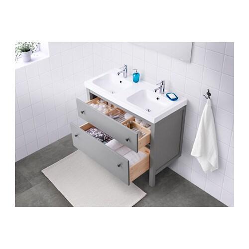 hemnes / odensvik sink cabinet with 2 drawers - black-brown stain