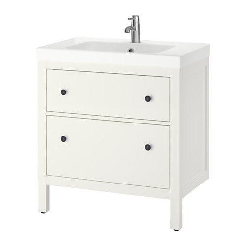 HEMNES / ODENSVIK Sink cabinet with 2 drawers IKEA Smooth-running and soft-closing drawers with pull-out stop.