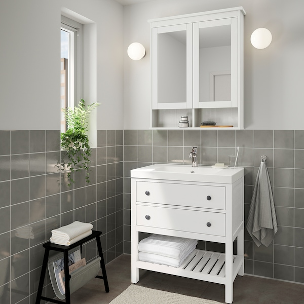 """HEMNES Open sink cabinet with 2 drawers, white, 32 1/4 """""""