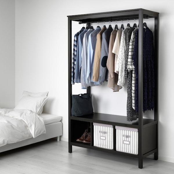 "HEMNES open wardrobe black-brown 47 1/4 "" 19 5/8 "" 77 1/2 """