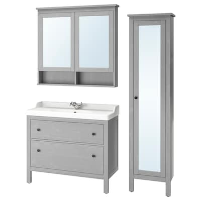 HEMNES / RÄTTVIKEN Bathroom furniture, set of 5, gray/Runskär faucet, 40 1/8 ""
