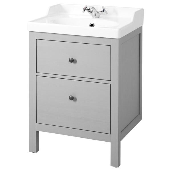 "HEMNES / RÄTTVIKEN Sink cabinet with 2 drawers, gray, 24 3/8x19 1/4x35 """