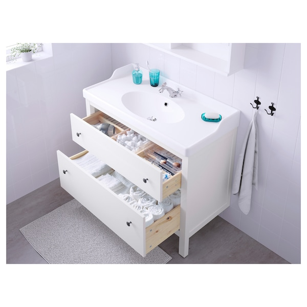 HEMNES / RÄTTVIKEN Sink cabinet with 2 drawers, white, 40 1/8x19 1/4x35 ""
