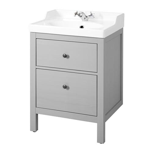 HEMNES / RÄTTVIKEN Sink cabinet with 2 drawers, gray gray 24 3/8x19 1/4x35