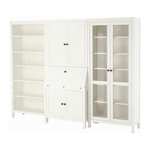 hemnes secretary with add on unit bookcase white stained. Black Bedroom Furniture Sets. Home Design Ideas