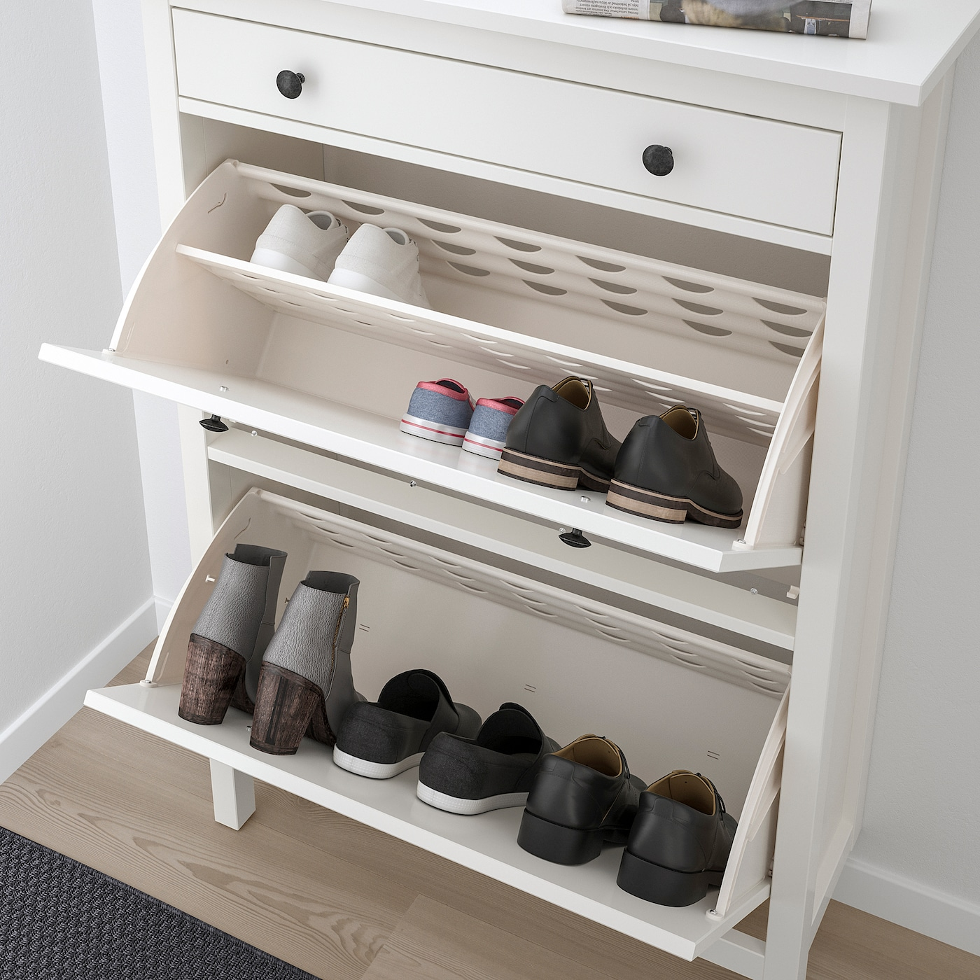 Shoe cabinet with 2 compartments HEMNES black,brown