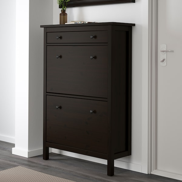 HEMNES Shoe cabinet with 2 compartments, black-brown, 35x50 ""