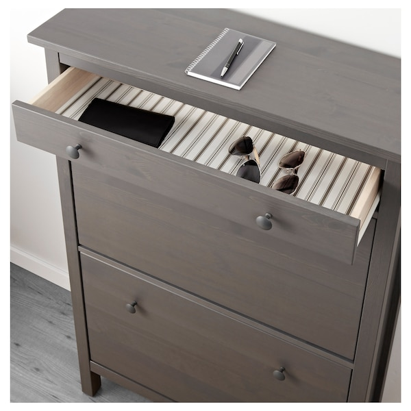 """HEMNES Shoe cabinet with 2 compartments, dark gray stained, 35x11 3/4x50 """""""