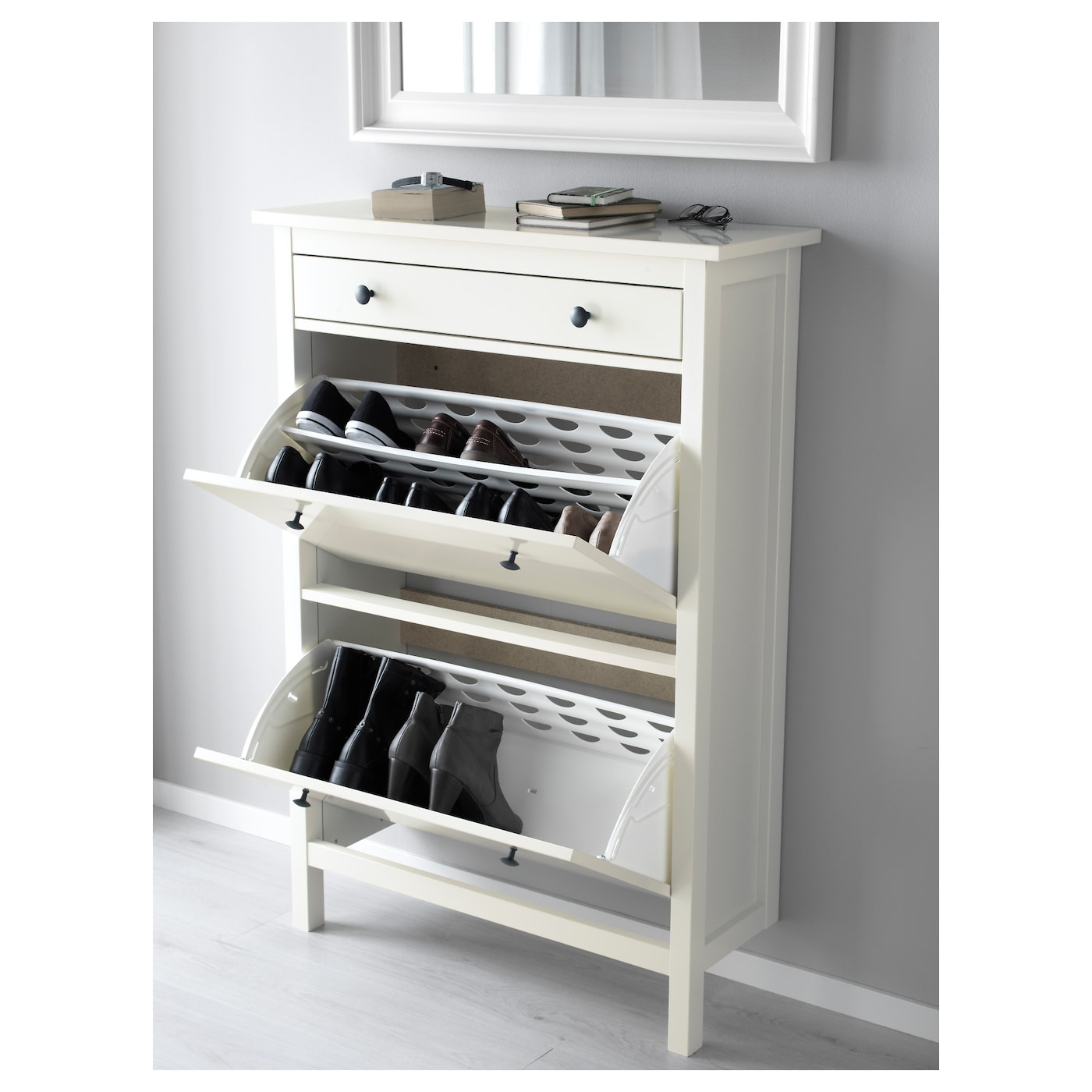 Shoe cabinet with 2 compartments HEMNES white