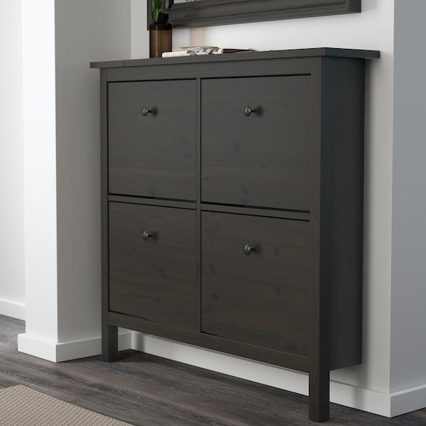 "HEMNES shoe cabinet with 4 compartments black-brown 42 1/8 "" 8 5/8 "" 39 3/4 """