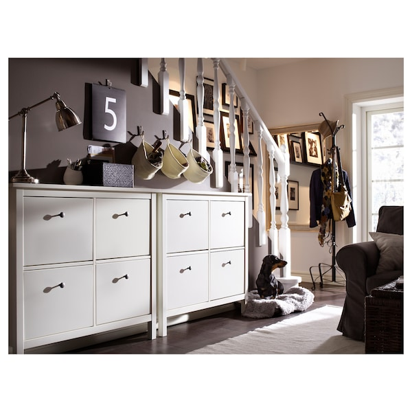 """HEMNES Shoe cabinet with 4 compartments, white, 42 1/8x8 5/8x39 3/4 """""""