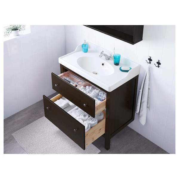 HEMNES Sink cabinet with 2 drawers, black-brown stain, 31 1/2x18 1/2x32 5/8 ""