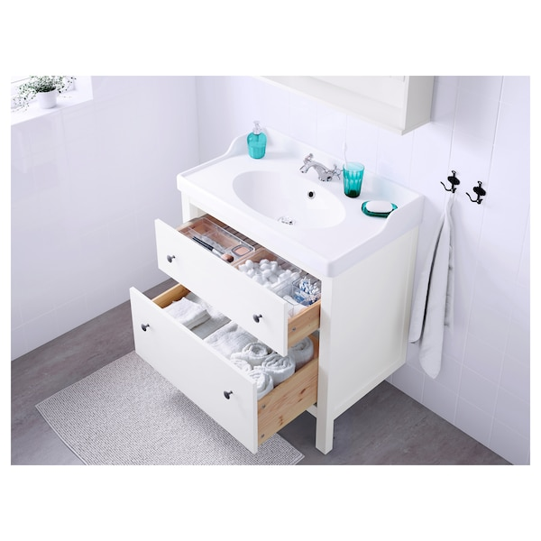 """HEMNES Sink cabinet with 2 drawers, white, 31 1/2x18 1/2x32 5/8 """""""