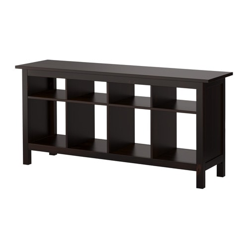 "HEMNES Sofa table, black-brown Length: 62 5/8 "" Width: 15 3/4 "" Height: 29 1/8 "" Max load/shelf: 33 lb  Length: 159 cm Width: 40 cm Height: 74 cm Max load/shelf: 15 kg"