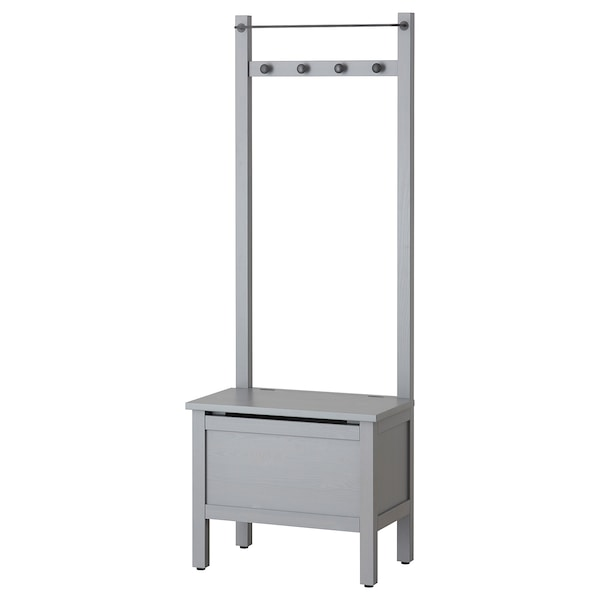 """HEMNES Storage bench w/towel rail+4 hooks, gray, 25 1/4x14 5/8x68 1/8 """""""