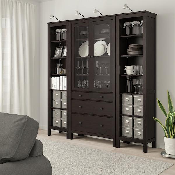 "HEMNES Storage combination w doors/drawers, black-brown/clear glass, 74x77 1/2 """