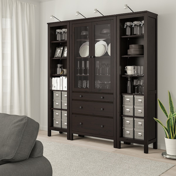"HEMNES storage combination w doors/drawers black-brown/clear glass 74 "" 14 5/8 "" 77 1/2 """
