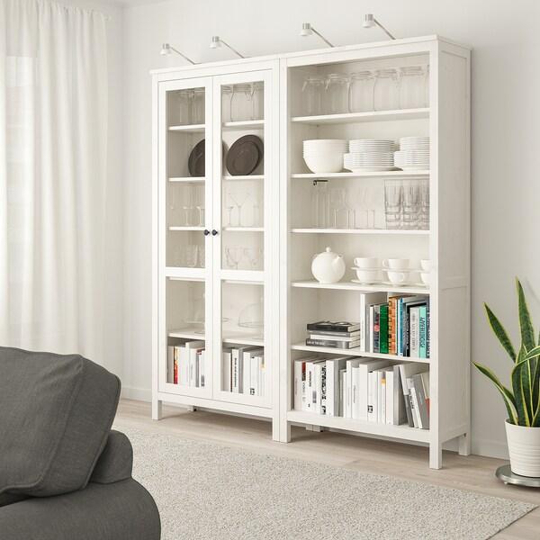 """HEMNES storage combination w/glass doors white stain 70 7/8 """" 14 5/8 """" 77 1/2 """""""