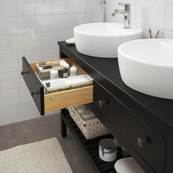"HEMNES / TÖRNVIKEN Open sink cabinet with 17¾"" sink, black-brown stained/Voxnan faucet, 48x18 7/8x35 3/8 """