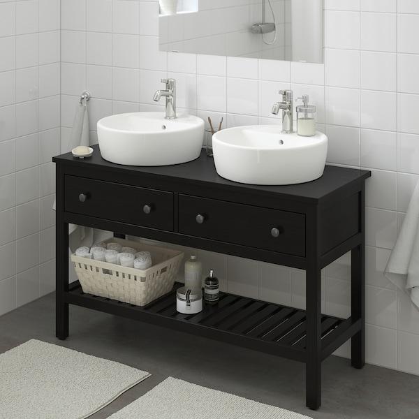 Hemnes Törnviken Open Sink Cabinet With 17 Sink Black Brown Stained Voxnan Faucet 48x18 7 8x35 3 8 Ikea