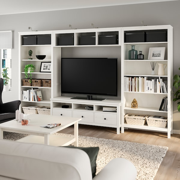 "HEMNES TV storage combination, white stain, 128 3/8x77 1/2 """
