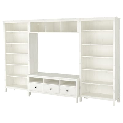 HEMNES TV storage combination, white stain, 128 3/8x77 1/2 ""