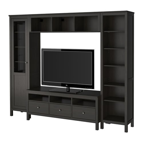 Hemnes tv storage combination black brown ikea - Meuble tv metal ikea ...