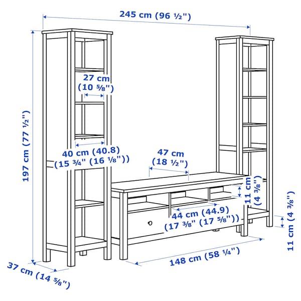 Hemnes Ikea Tv Kast.Hemnes Tv Storage Combination White Stain 96 1 2x77 1 2 Ikea