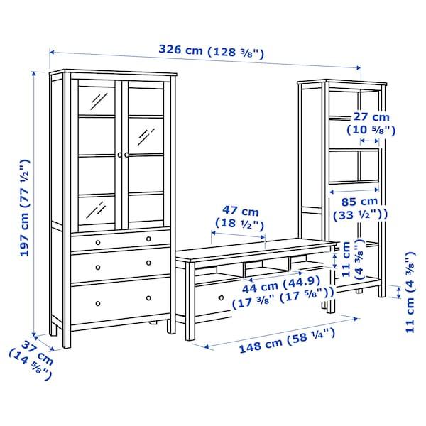 Hemnes Ikea Tv Kast.Hemnes Tv Storage Combination White Stain Clear Glass 128 3
