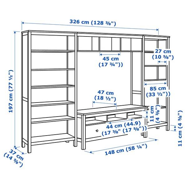 Hemnes Ikea Tv Kast.Hemnes Tv Storage Combination White Stain 128 3 8x77 1 2 Ikea