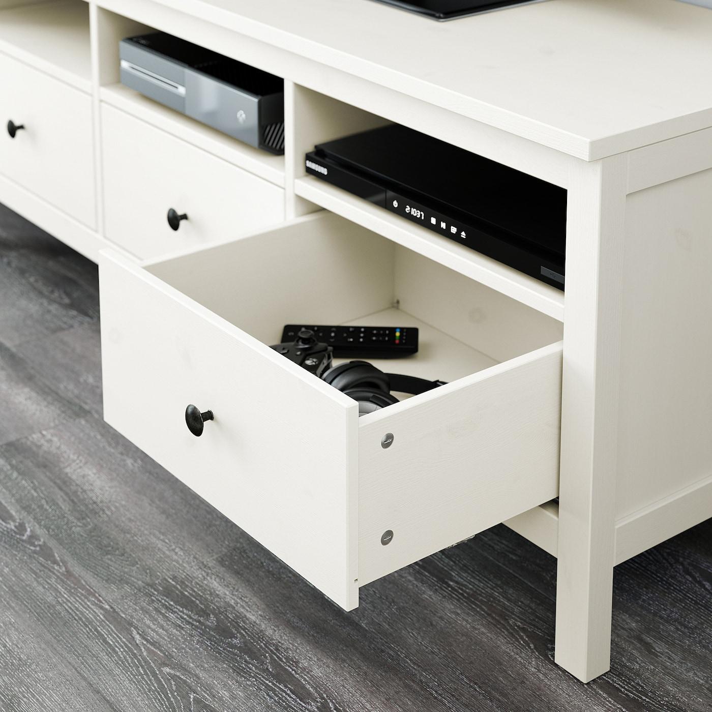 Hemnes Tv Meubel.Hemnes Tv Storage Combination White Stain Clear Glass 128 3