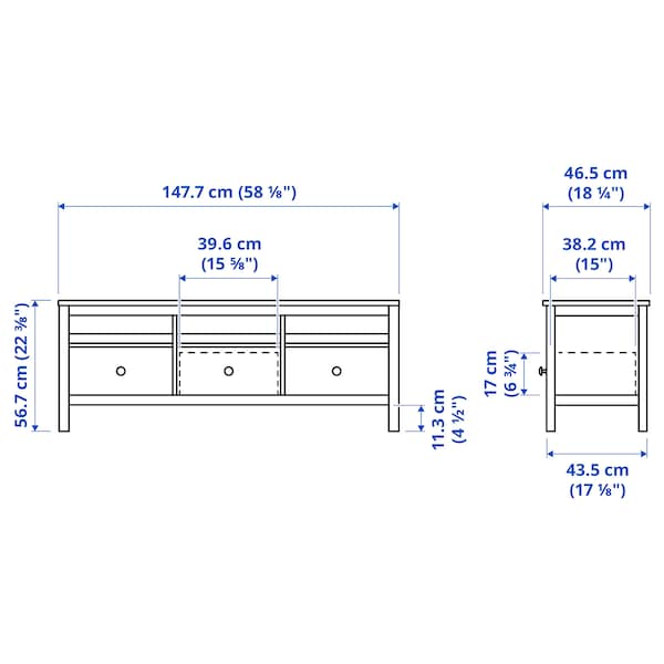 HEMNES TV unit, dark gray stained, 58 1/4x18 1/2 ""