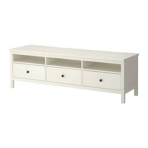 HEMNES TV unit, white stain white stain 72x18 1/2