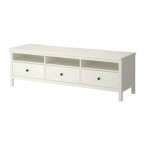 HEMNES TV unit IKEA Solid wood has a natural feel. Air circulation around the electronics is improved because the TV bench has a vent at the top.