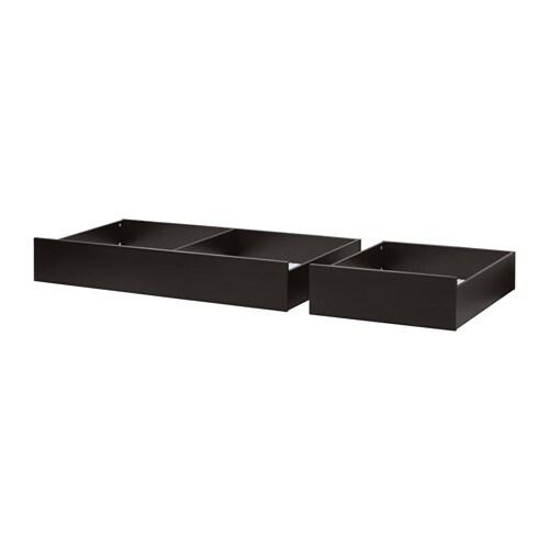 HEMNES Underbed storage box, set of 2, black-brown black-brown Queen/King