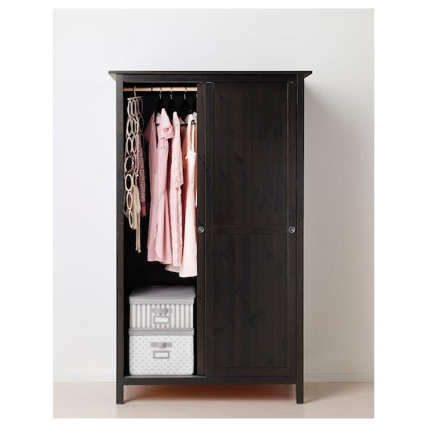 HEMNES Wardrobe with 2 sliding doors, black-brown, 47 1 ...