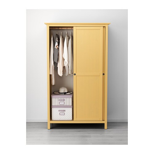 HEMNES Wardrobe with 2 sliding doors yellow IKEA