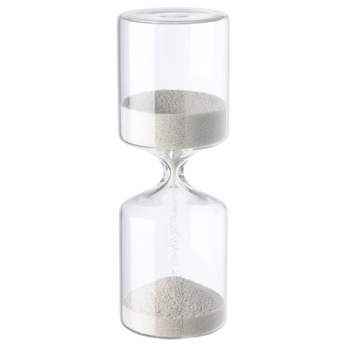 HEMVIST decorative hourglass white/clear glass 8 ¼ ""