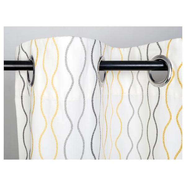"HENNY RAND Curtains, 1 pair, white/gray yellow, 57x98 """