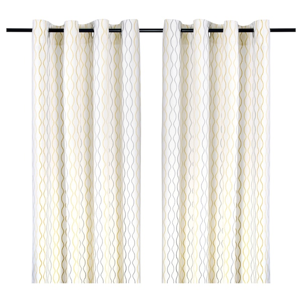 Curtains 1 Pair Henny Rand White Gray Yellow
