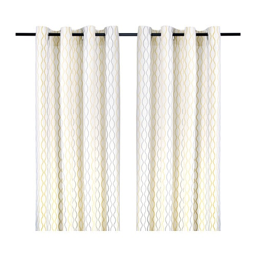 Henny rand curtains 1 pair white gray yellow 57x118 for White curtains ikea