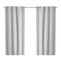 HENNY RAND curtains, 1 pair, white/brown, gray