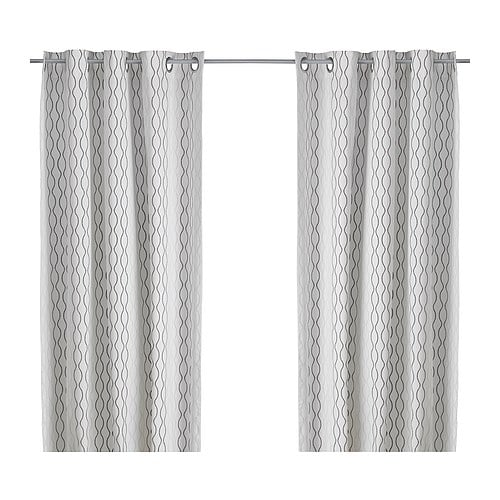 "HENNY RAND Pair of curtains, white/brown, gray Length: 98 "" Width: 57 "" Weight: 5 lb 5 oz  Length: 250 cm Width: 145 cm Weight: 2.40 kg"