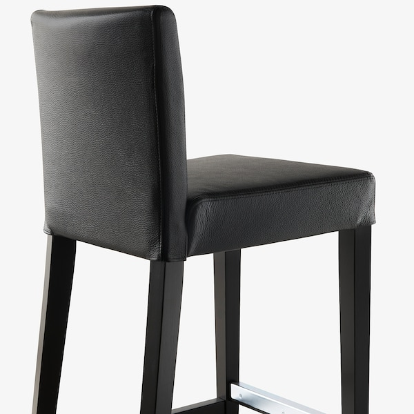 """HENRIKSDAL Bar stool with backrest, brown-black/Glose black, 30x19 """""""