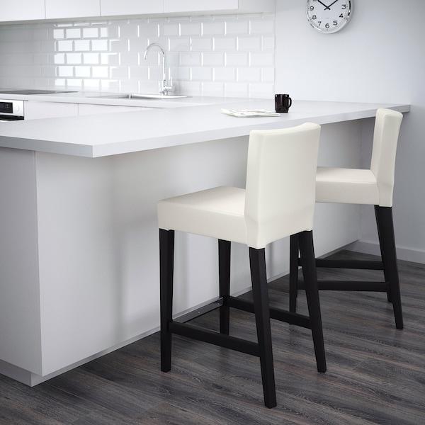 "HENRIKSDAL Bar stool with backrest, brown-black/Gräsbo white, 26x19 """