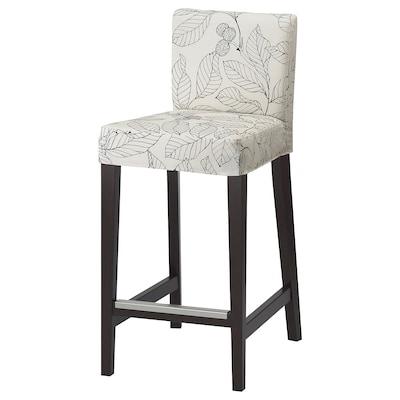 "HENRIKSDAL Bar stool with backrest, dark brown/Vislanda black/white, 26x19 """