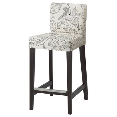 "HENRIKSDAL bar stool with backrest dark brown/Vislanda black/white 243 lb 18 1/2 "" 22 "" 39 "" 18 7/8 "" 17 3/8 "" 26 """