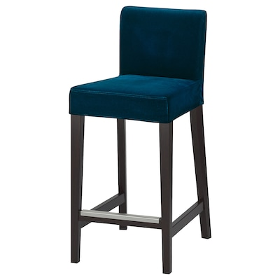 "HENRIKSDAL bar stool with backrest dark brown/Djuparp dark green-blue 243 lb 18 1/2 "" 22 "" 39 "" 18 7/8 "" 17 3/8 "" 26 """