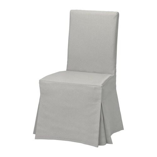 HENRIKSDAL Chair cover, long, Orrsta light gray
